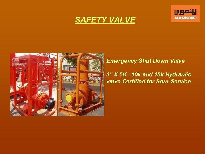 """SAFETY VALVE Emergency Shut Down Valve 3"""" X 5 K , 10 k and"""