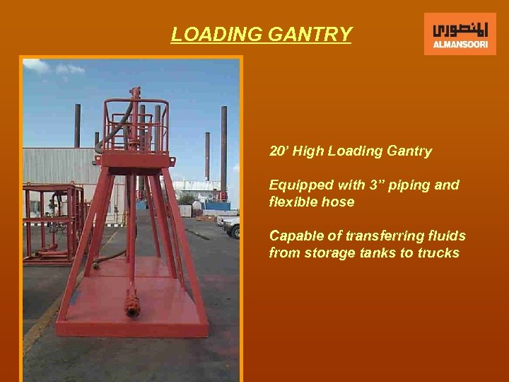 """LOADING GANTRY 20' High Loading Gantry Equipped with 3"""" piping and flexible hose Capable"""