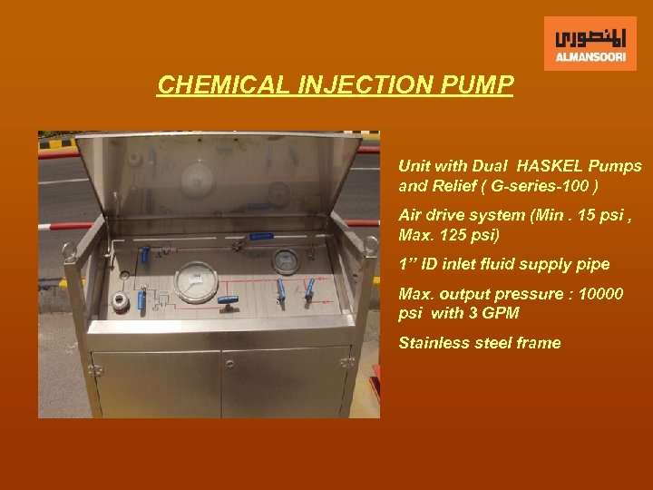 CHEMICAL INJECTION PUMP Unit with Dual HASKEL Pumps and Relief ( G-series-100 ) Air