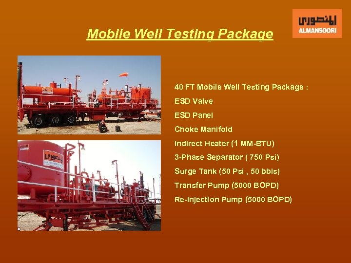 Mobile Well Testing Package 40 FT Mobile Well Testing Package : ESD Valve ESD
