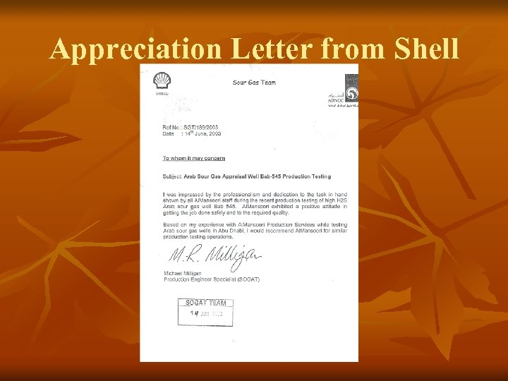 Appreciation Letter from Shell