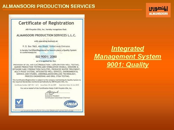 ALMANSOORI PRODUCTION SERVICES Integrated Management System 9001: Quality