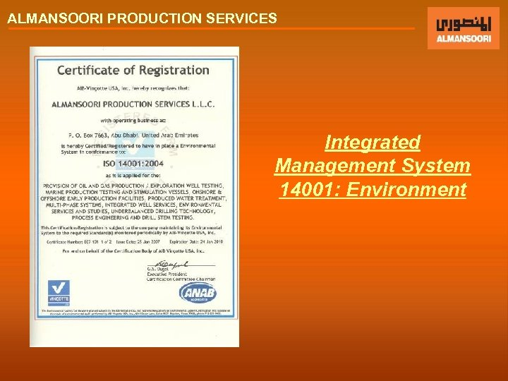 ALMANSOORI PRODUCTION SERVICES Integrated Management System 14001: Environment