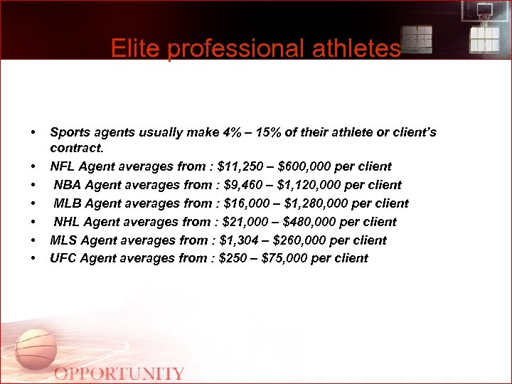 Elite professional athletes • • Sports agents usually make 4% – 15% of their