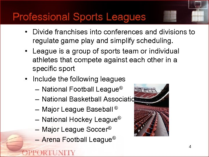 Professional Sports Leagues • Divide franchises into conferences and divisions to regulate game play