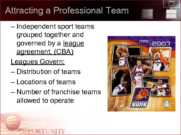 Attracting a Professional Team – Independent sport teams grouped together and governed by a