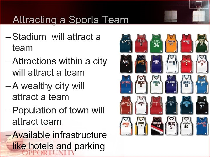 Attracting a Sports Team – Stadium will attract a team – Attractions within a