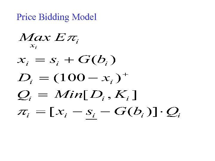 Price Bidding Model