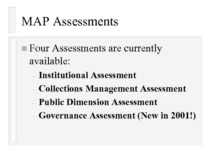 collection assessment thesis collections Designing data collection tools and procedures the hris needs assessment may reveal gaps in data collection usually, the ministry of health (moh) or other centralized body collects data on health workers from district offices and health care facilities, typically using paper data collection forms.