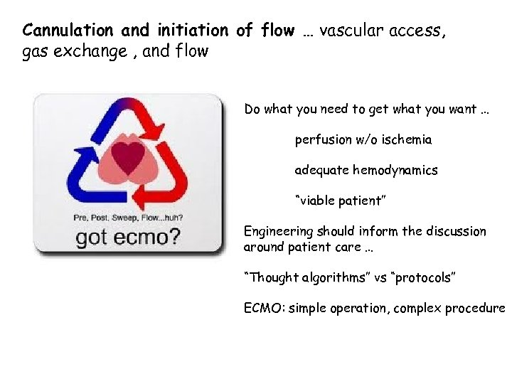 Cannulation and initiation of flow … vascular access, gas exchange , and flow Do