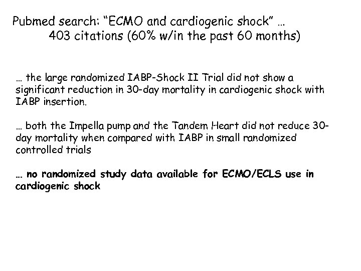 "Pubmed search: ""ECMO and cardiogenic shock"" … 403 citations (60% w/in the past 60"