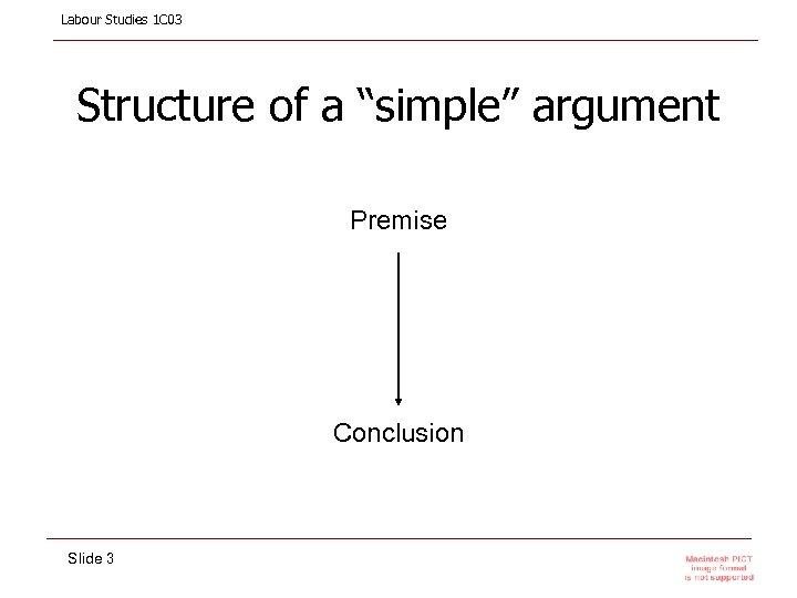 """Labour Studies 1 C 03 Structure of a """"simple"""" argument Premise Conclusion Slide 3"""