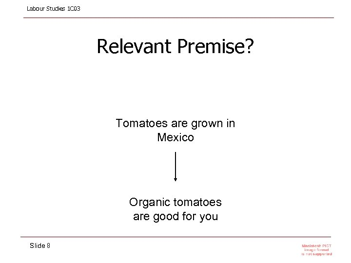 Labour Studies 1 C 03 Relevant Premise? Tomatoes are grown in Mexico Organic tomatoes