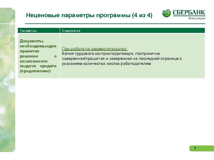 Неценовые параметры программы (4 из 4) Параметры Содержание Документы, необходимыедля принятия решения о возможности