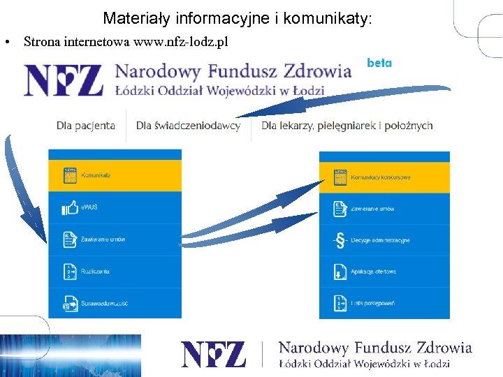Materiały informacyjne i komunikaty: • Strona internetowa www. nfz-lodz. pl