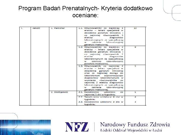Program Badań Prenatalnych- Kryteria dodatkowo oceniane: