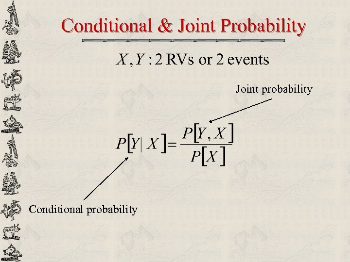 Conditional & Joint Probability Joint probability Conditional probability