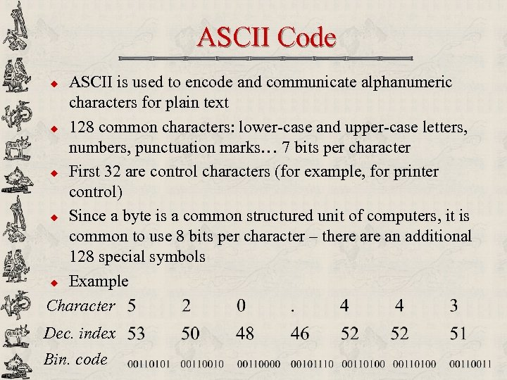 ASCII Code ASCII is used to encode and communicate alphanumeric characters for plain text