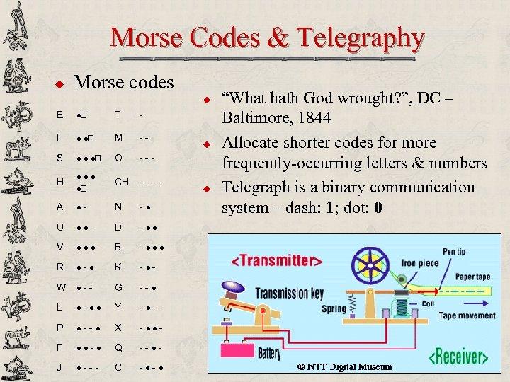Morse Codes & Telegraphy u Morse codes u E · T - I ·