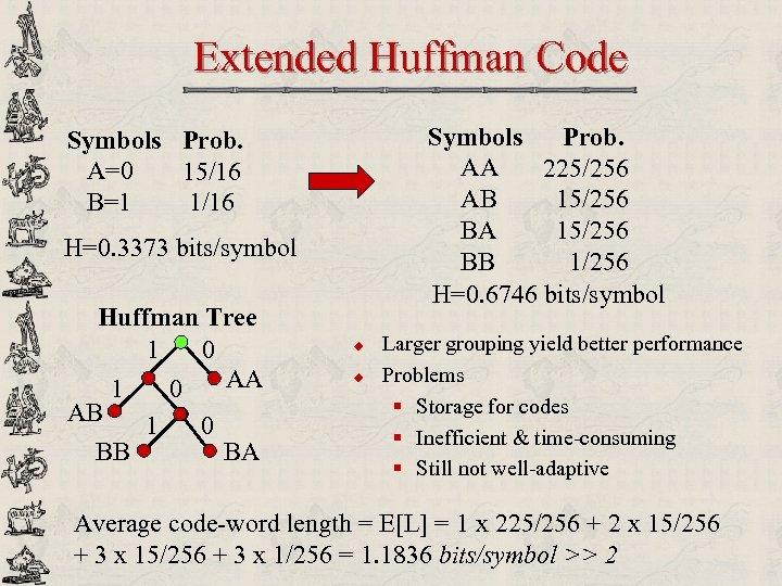 Extended Huffman Code Symbols Prob. AA 225/256 AB 15/256 BA 15/256 BB 1/256 H=0.