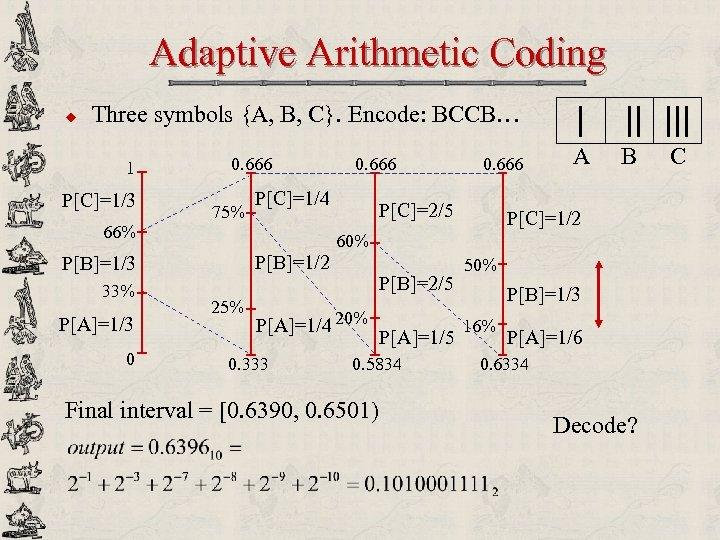 Adaptive Arithmetic Coding u Three symbols {A, B, C}. Encode: BCCB… 1 P[C]=1/3 66%