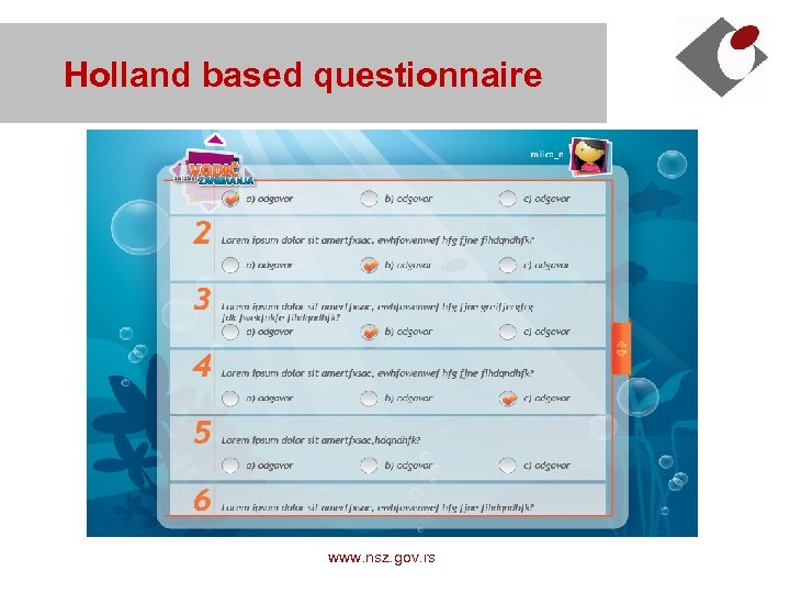 Holland based questionnaire www. nsz. gov. rs