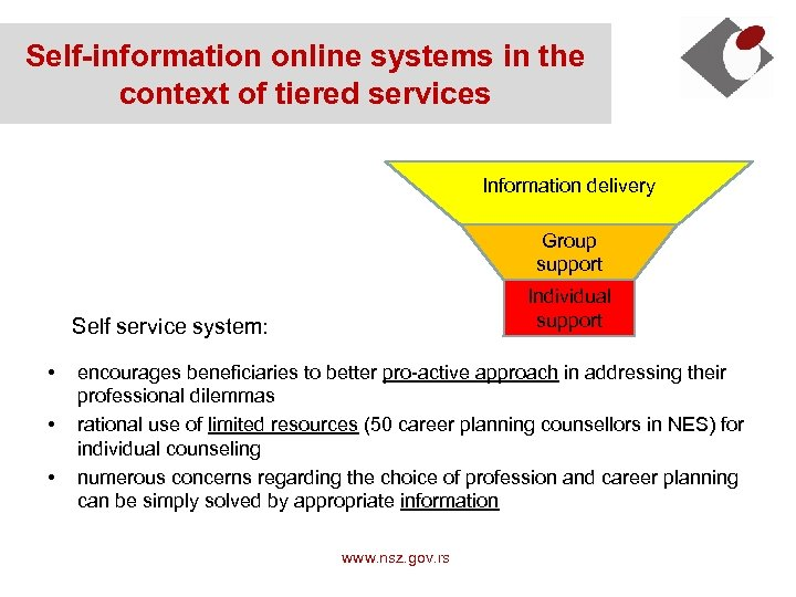 Self-information online systems in the context of tiered services Information delivery Group support Individual