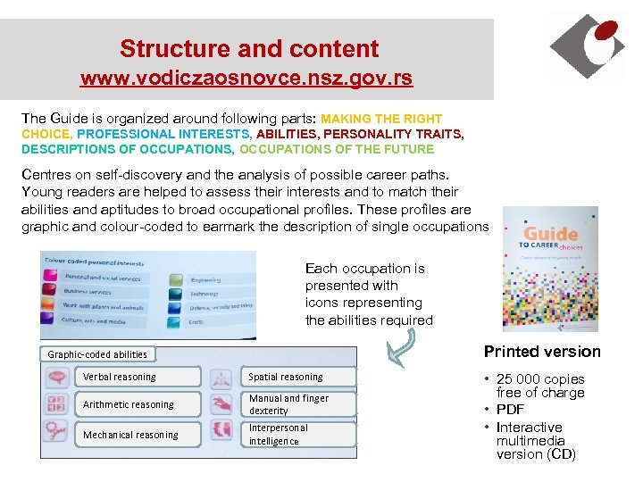 Structure and content www. vodiczaosnovce. nsz. gov. rs The Guide is organized around following