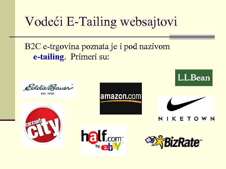 Vodeći E-Tailing websajtovi B 2 C e-trgovina poznata je i pod nazivom e-tailing. Primeri