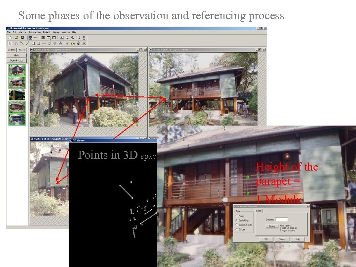 Some phases of the observation and referencing process Points in 3 D space Height