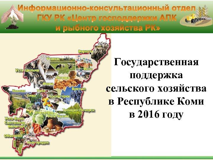 Государственная поддержка сельского хозяйства в Республике Коми в 2016 году
