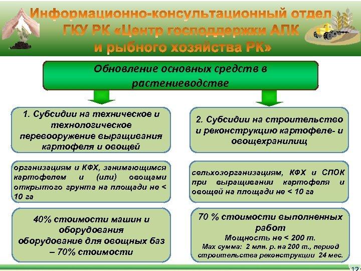 Обновление основных средств в растениеводстве 1. Субсидии на техническое и технологическое перевооружение выращивания картофеля