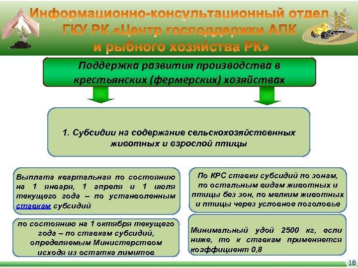 Поддержка развития производства в крестьянских (фермерских) хозяйствах 1. Субсидии на содержание сельскохозяйственных животных и