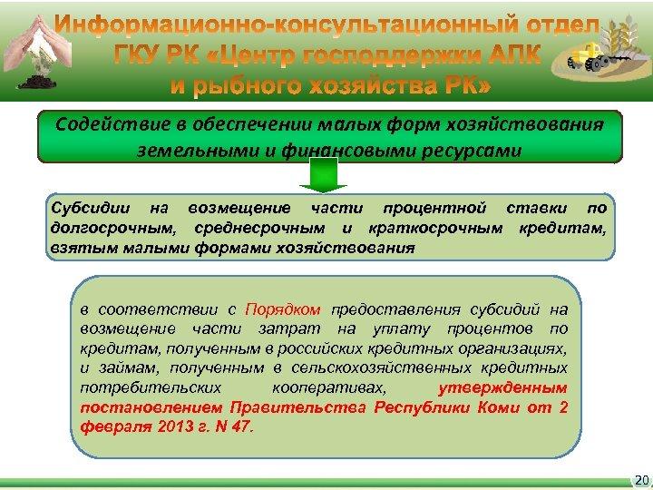 Содействие в обеспечении малых форм хозяйствования земельными и финансовыми ресурсами Субсидии на возмещение части