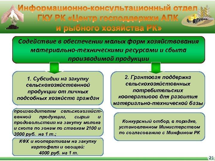 Содействие в обеспечении малых форм хозяйствования материально-техническими ресурсами и сбыта производимой продукции 1. Субсидии