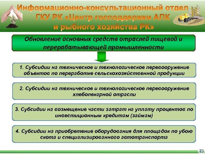 Обновление основных средств отраслей пищевой и перерабатывающей промышленности 1. Субсидии на техническое и технологическое