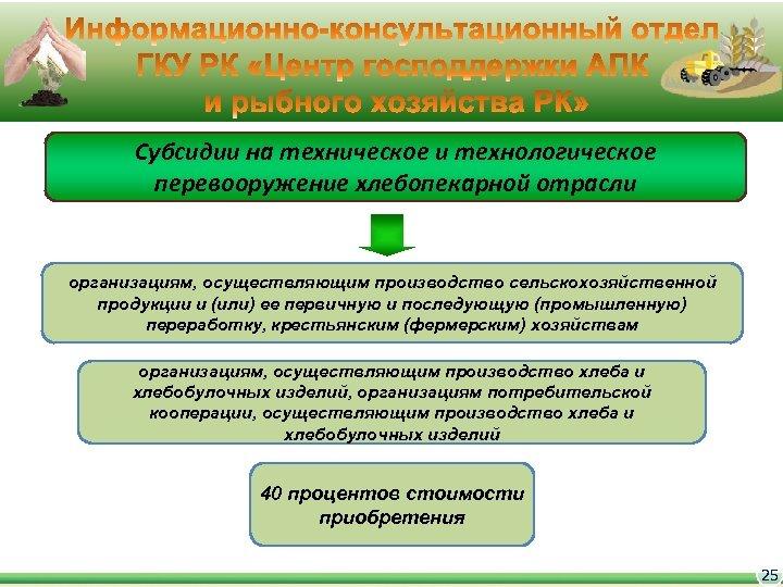 Субсидии на техническое и технологическое перевооружение хлебопекарной отрасли организациям, осуществляющим производство сельскохозяйственной продукции и