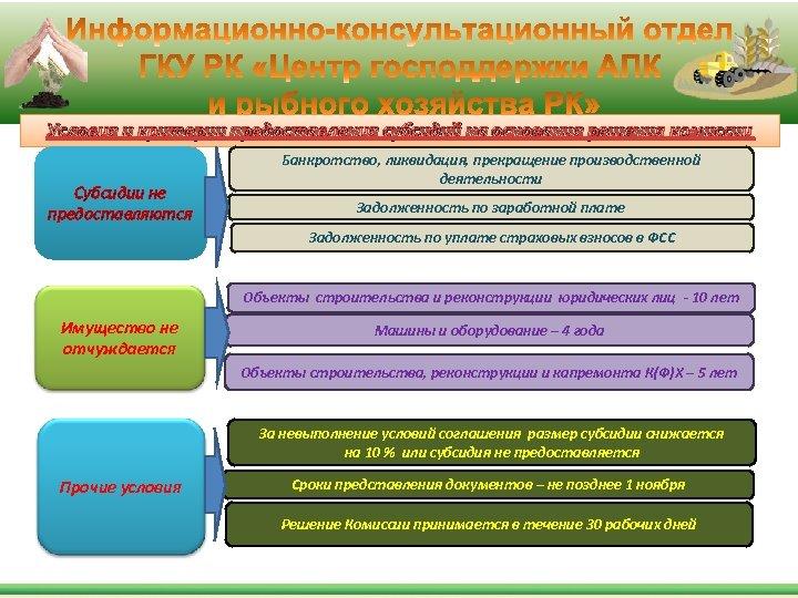 Условия и критерии предоставления субсидий на основания решения комиссии Субсидии не предоставляются Банкротство, ликвидация,