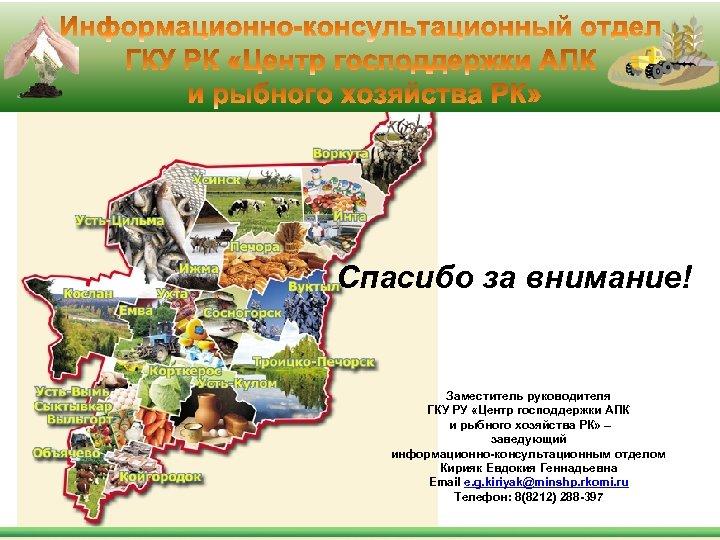 Спасибо за внимание! Заместитель руководителя ГКУ РУ «Центр господдержки АПК и рыбного хозяйства РК»