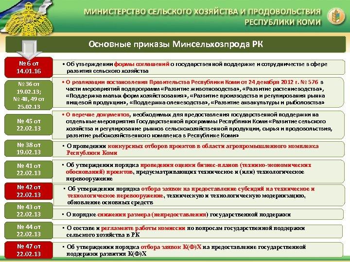 Основные приказы Минсельхозпрода РК № 6 от 14. 01. 16 • Об утверждении формы