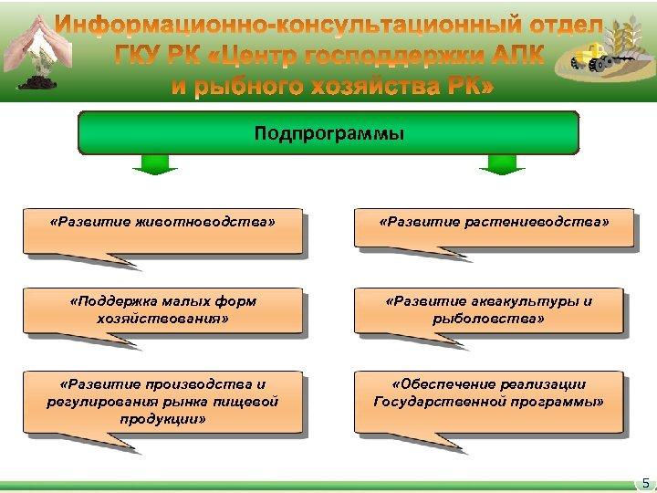 Подпрограммы «Развитие животноводства» «Развитие растениеводства» «Поддержка малых форм хозяйствования» «Развитие аквакультуры и рыболовства» «Развитие