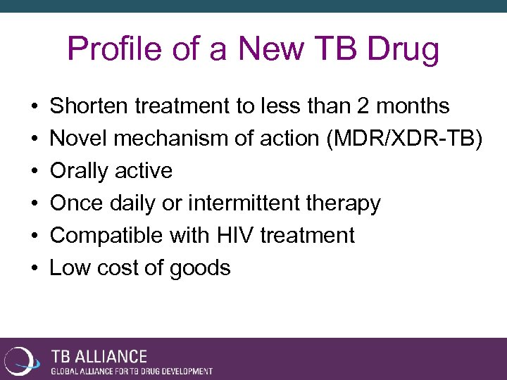 Profile of a New TB Drug • • • Shorten treatment to less than