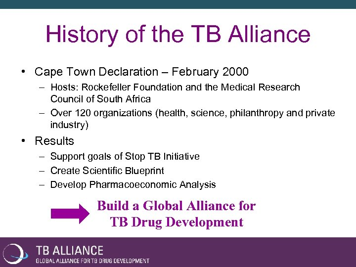 History of the TB Alliance • Cape Town Declaration – February 2000 – Hosts: