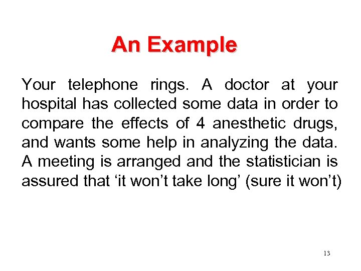An Example Your telephone rings. A doctor at your hospital has collected some data