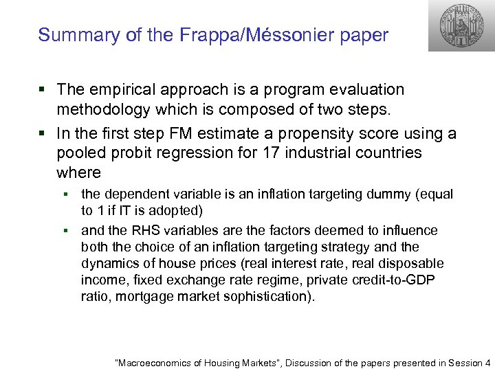 Summary of the Frappa/Méssonier paper § The empirical approach is a program evaluation methodology