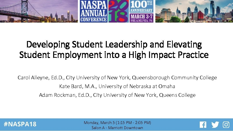 Developing Student Leadership and Elevating Student Employment into a High Impact Practice Carol Alleyne,