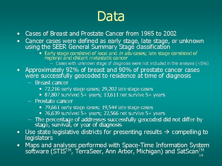 Data • Cases of Breast and Prostate Cancer from 1985 to 2002 • Cancer