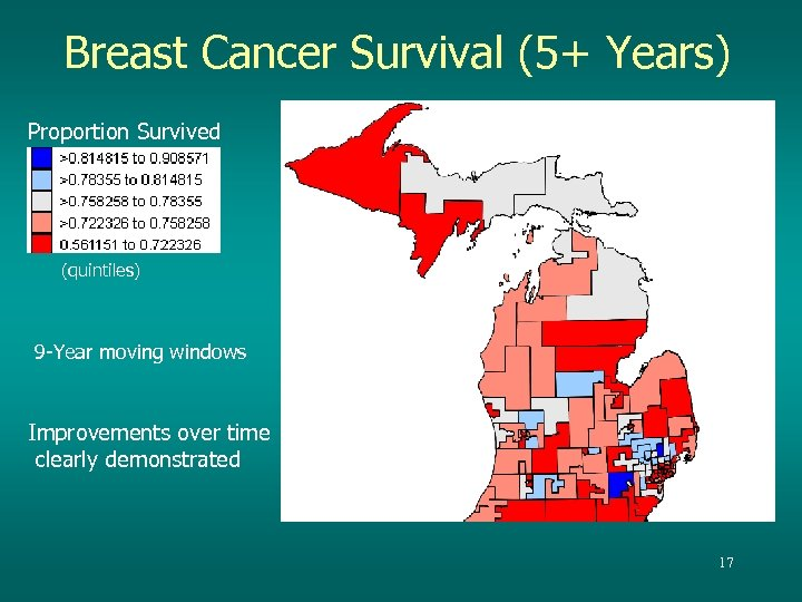 Breast Cancer Survival (5+ Years) Proportion Survived (quintiles) 9 -Year moving windows Improvements over