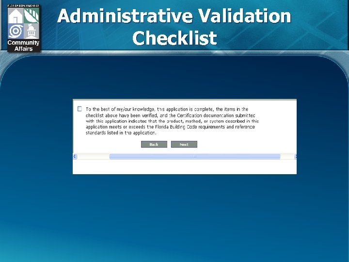 Administrative Validation Checklist