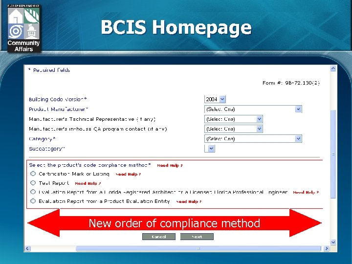 BCIS Homepage New order of compliance method